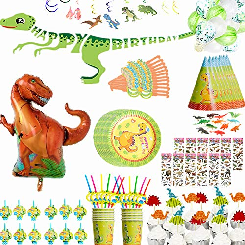 - Dinosaur Party Supplies Set Party Favors Decoration All in Pack for 12 Guests-Dinosaur Party Tableware Plates, Cups, Straws, Masks, Hats, Blowouts, Cake Toppers, Figures, Stickers, Balloons, Banner, Hanging Swirls, Perfect for Dinosaur Themed Birthday Party for Boys Girls Kids