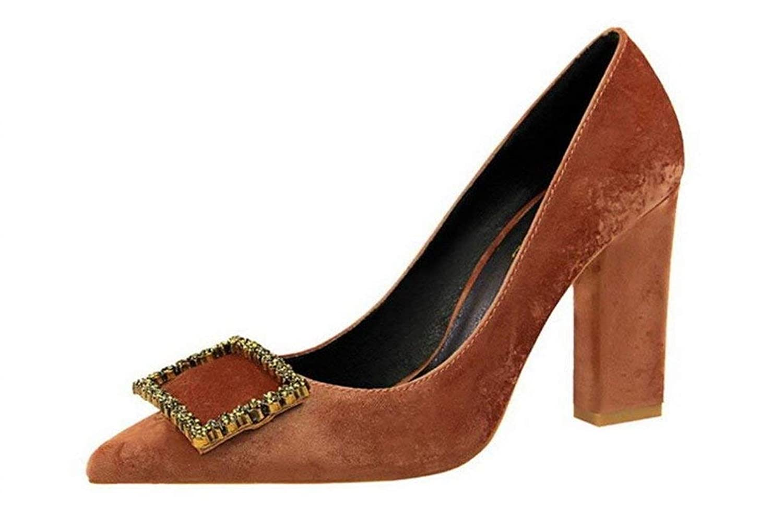 High Heels Sandalen Chunky Heel 9 cm Plattform Komfort Königin Schwangere Frau Damen Mädchen Party Tanzen Feminine Schuhe, Braun, EU37 (Farbe   -, Größe   -)