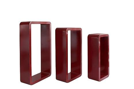Parete Camera Bordeaux : Rebecca srl set 3 mensole da parete rettangolari legno rosso