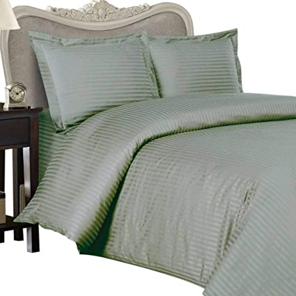 600 Thread Count Egyptian Cotton 600TC Sheet Set, Queen, Sage Stripe 600