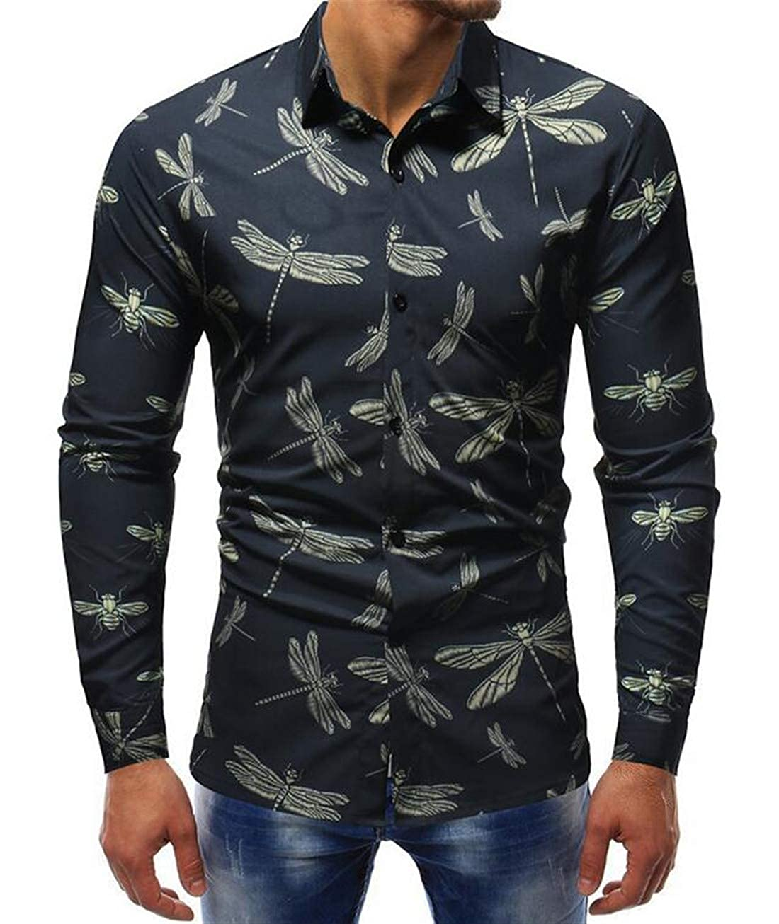 Nanquan Men Autumn Dragonfly Printing Long Sleeve Lapel Button Down Shirt