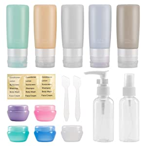 14 Pack Travel Bottles TSA Approved, Beveetio 2.9oz Leak Proof Travel Tubes, BPA Free Refillable Silicone Squeeze Bottles,toiletries containers for Cosmetic Shampoo Conditioner Lotion Soap