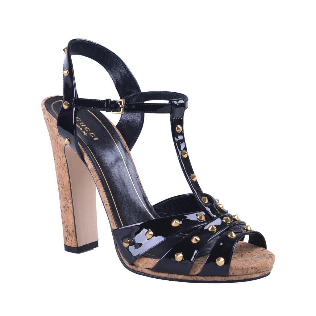 38fecb10db0f9 Gucci Women's Black Patent Leather Open Toe High Heel Sandals Shoes ...