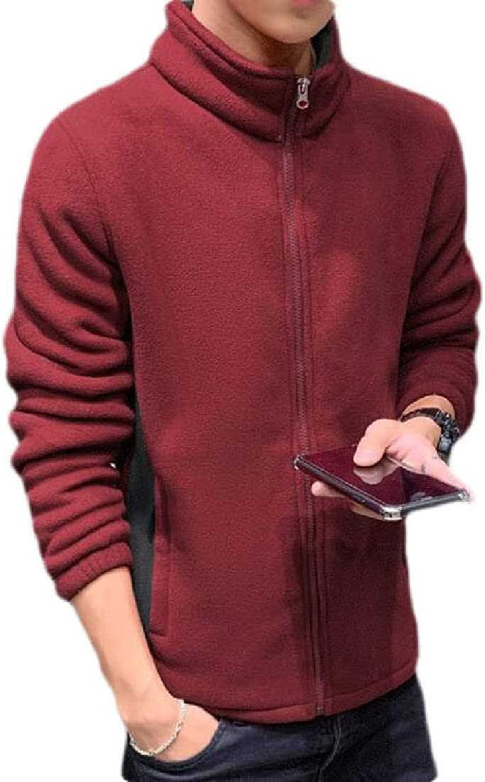 Abeaicoc Mens Coat Winter Thick Stand Collar Big /& Tall Sweatshirt with Fleece Lined
