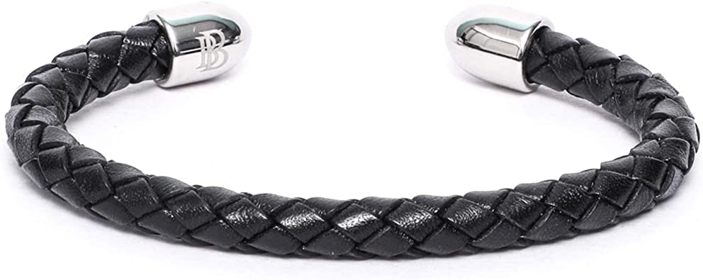 Mens Leather Bracelet BeBajrang Round Double Braided Leather Mens Bracelet Cuff 6mm White Plated Stainless Steel Stoppers