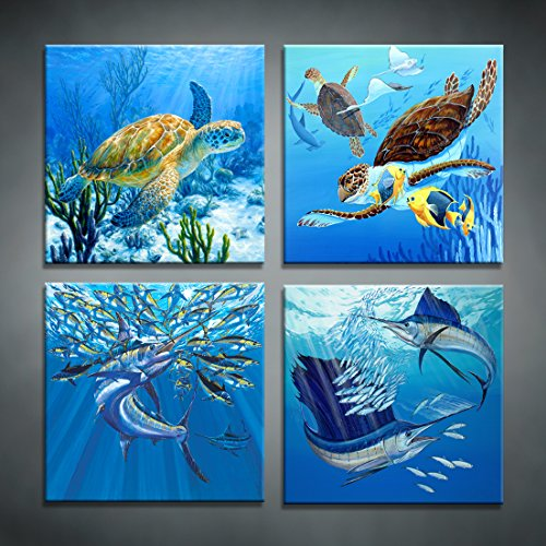 Moyedecor Art - 4 Pieces Wall Art Paintings Turtle And Tuna In The Blue Underwater Uorld Of Art Pictures Prints On Canvas Decoration Home and Office - Size:12