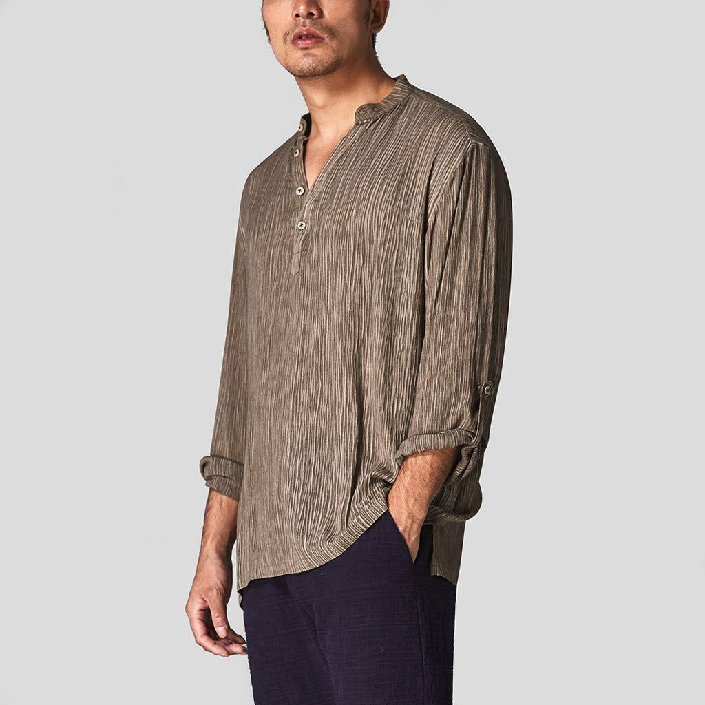 DATEWORK Mens Casual Cotton Breathable Solid Long Sleeve Summer Buttons T Shirt Blouse