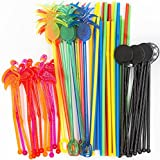 Bar Caddy Supplies (60 Pack) – Assorted Swizzle Sticks/Drink Stirrers (12 of Each Design) – Disposable Flexible Drinking Straws in 2 Sizes – Small Bar Party Supply Refill Pack for Bar Organizer