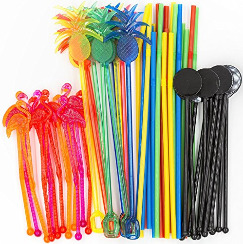 Bar Caddy Supplies (60 Pack) - Assorted Swizzle Sticks/Drink Stirrers (12 of Each Design) - Disposable Flexible Drinking Straws in 2 Sizes - Small Bar Party Supply Refill Pack for Bar Organizer
