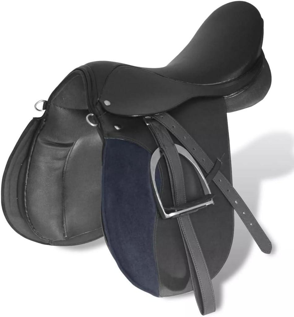 Tidyard LEnsemble de Selle Equitation 16 en Cuir V/éritable 14 cm 5 en 1 Noir