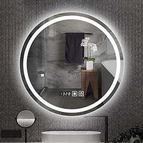 JYYSJHG Bathroom Mirror LED Illuminated, Stepless Dimming Wall-Mounted Shaving Make-up Mirror,Defogging+Time Temperature -