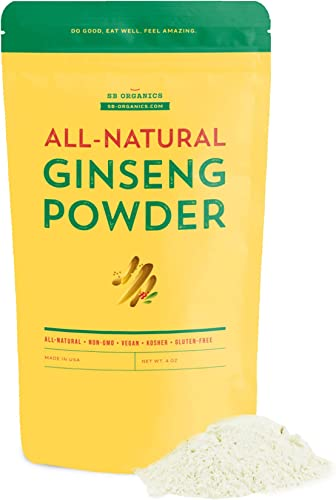 SB Organics Ginseng Powder – USA-Grown Non-GMO Superfood Powder for Energy, Immune System Support, and Vitality – 4 oz.