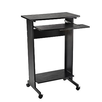 HomCom 30u0026quot; Mobile Standing Workstation Computer Laptop Desk ...