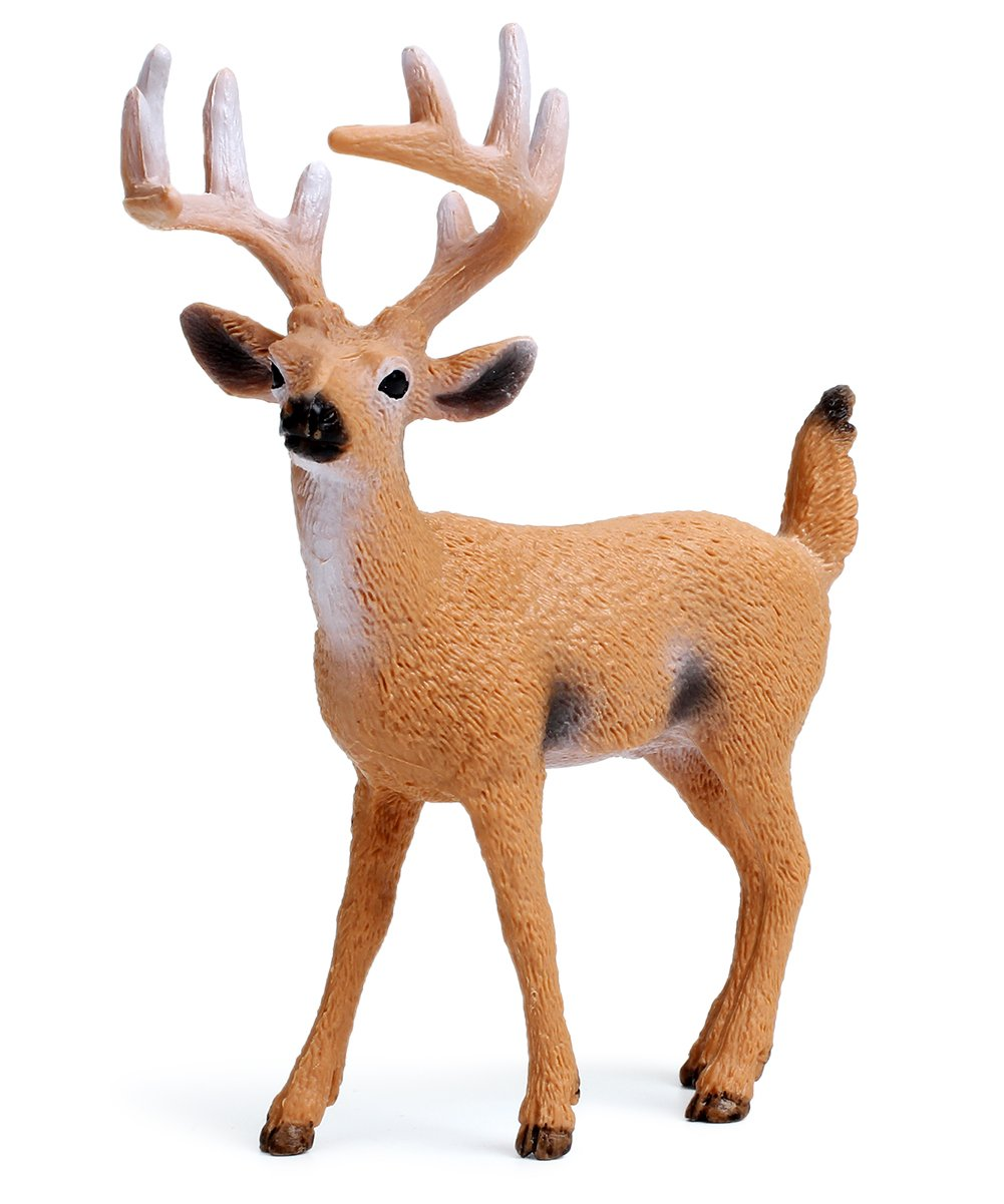 Miniature Deer Family Toy Figurines with Forest Animal Babies Set, Includes a Buck, Doe, Fawn, Rabbit, Squirrel and Fox by Uandme (Image #3)