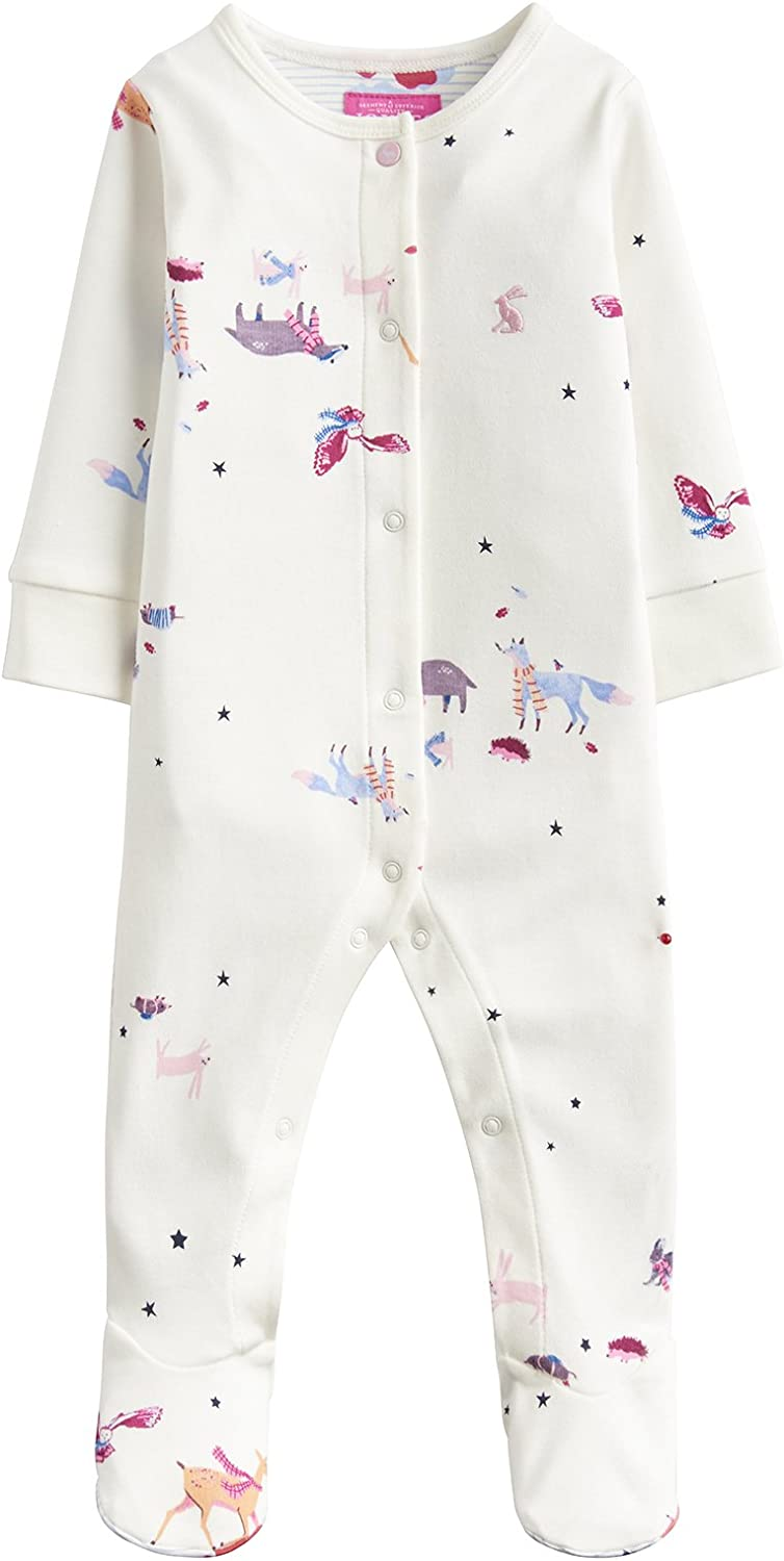 Cream Woodland Friends Joules Baby AOP Babygrow