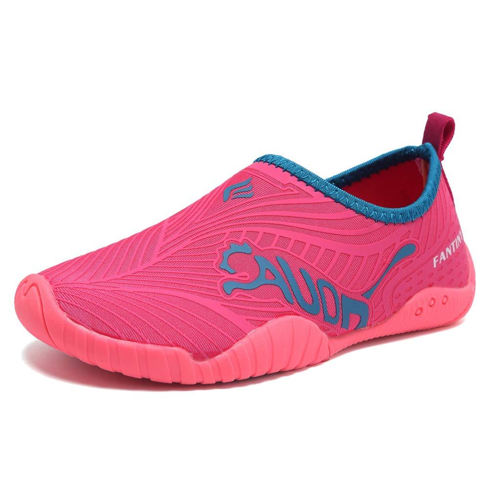 DESTURE Toddler Boy Girl Water Shoes Quick-Dry Swim Shoe Slip-on Baby Aqua Beach Outdoor Sport Sneakers (Little Kid/Big Kid), U519SSX003,3rosered,32