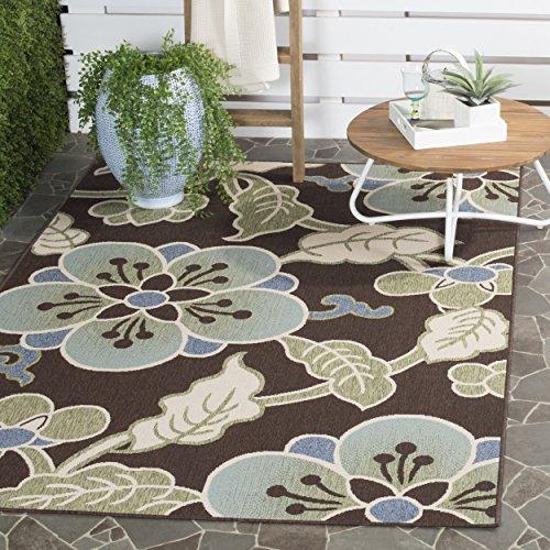 Safavieh Veranda Collection VER001-0623 Indoor/ Outdoor Chocolate and Aqua Floral Area Rug (5'3