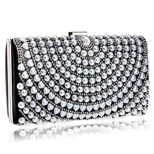 Mujer Bolsos Eventos Detailing de Formal All PLYY Evening Polyester Rhinestone para Fiestas Boda Pearl para Seasons PU Bag xA1Fw