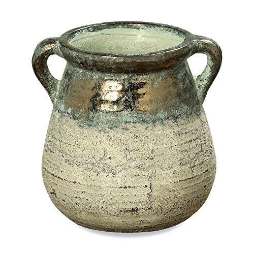 Vase Amphora, Artisan Crafted, Glazed Terracotta with Shabby Tan Glaze, Green Patina, Distressed Metallic Top, Vintage Style, 8 3/4 Inches Tall, By Whole House Worlds (Glaze Pottery Vase)