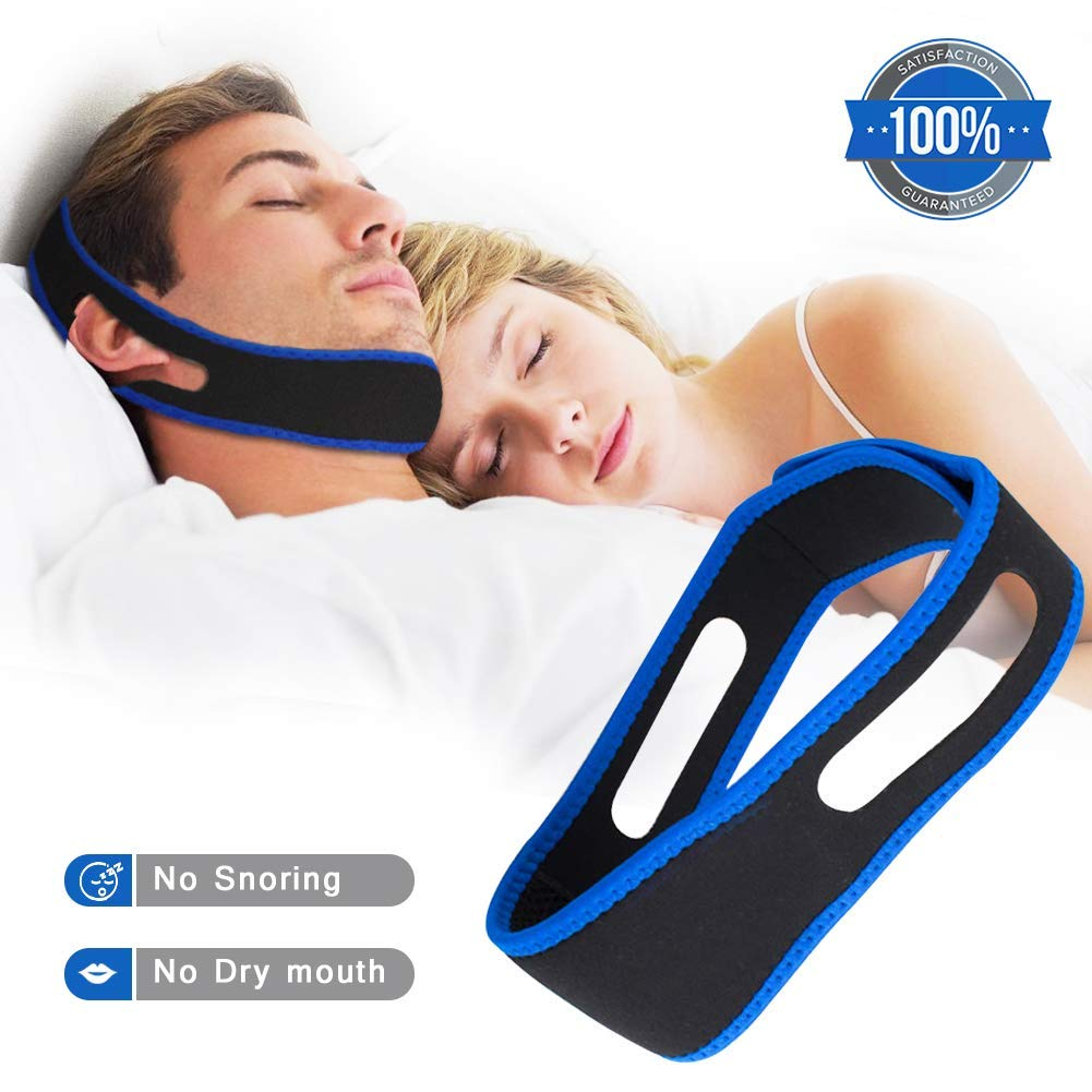Anti Snoring Chin Strap Effective Snoring Solution and Anti Snoring Devices Snoring Chin Strap - Stop Snoring Sleep Aid for Men and Women [2019 Upgraded Version] (Black)