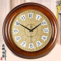 European Antique Wall Clock Modern Extra Large Quartz Wall Clock Disc Simple Creative Atmosphere The Villa Living Room Clock,20 Inch,5604 Brown