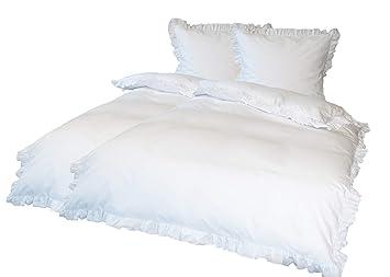 Premiumshop321 4 Teilig Goldmond Bettwäsche Weiß Mit Rüschen 135x200