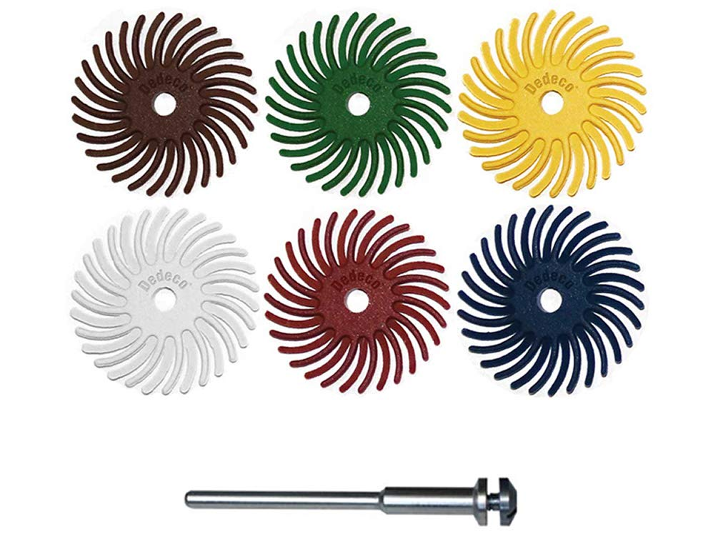Dedeco Sunburst - 1'' TC Radial Bristle Discs - 1/8'' Arbor - Precision Thermoplastic Rotary Cleaning and Polishing Tool Set, Assorted: 8 of Each 6 Grit Textures Plus two 1363 Mandrels (50 Piece)