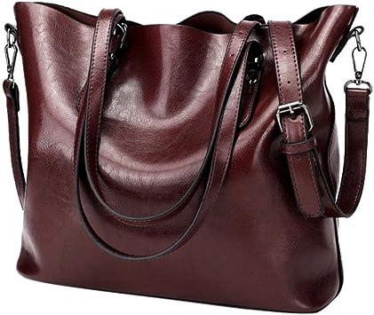 Women Retro Crossbody Bag Rakkiss Leather Shoulder Bag Handbag Bucket Large Capacity Bag Tote Backpack Bags One/_Size, Wine