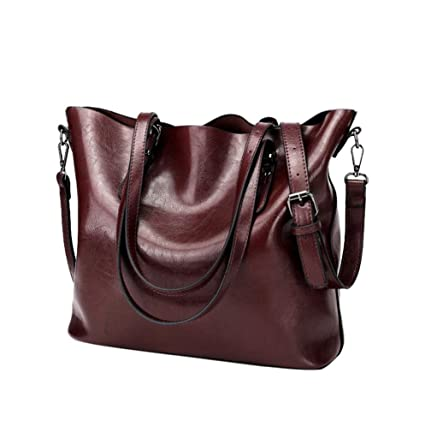 c335320b40 Amazon.com  Women Retro Crossbody Bag Rakkiss Leather Shoulder Bag Handbag  Bucket Large Capacity Bag Tote Backpack Bags (One Size