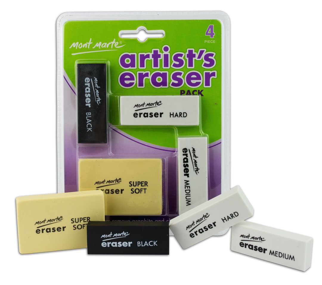 MONT MARTE Artist Eraser Set - 4 Pieces - Erasers in Different Sizes and Shapes - Premium Quality - Ideal for erasing graphite and charcoal - Perfect for Beginners, Professionals and Artists