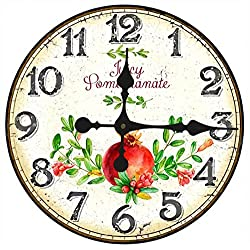 Toright 16inch Vintage European Style Home Décor Clock Juicy Pomegranate Fruit Stores Home Wall Hanging