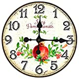 Cheap Toright 14inch Vintage European Style Home Décor Clock Juicy Pomegranate Fruit Stores Home Wall Hanging