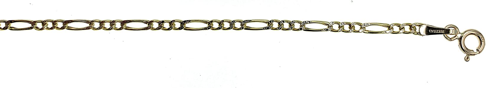 Silvadi 10kt Gold Pave Figaro Chain Made in Italy 18