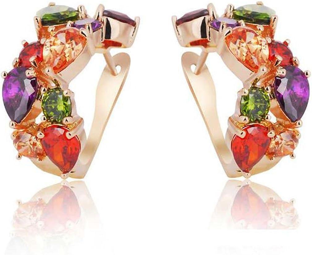 Pendientes Yazilind, de aro pequeño y gancho, chapados en rodio, con circonita cúbica de cortes redondos impecables