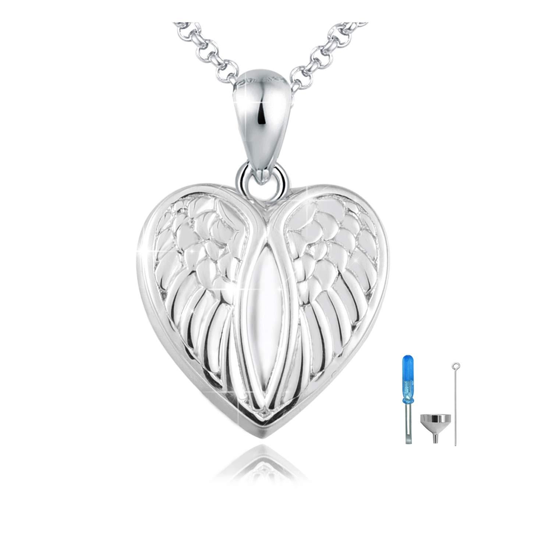 oGoodsunj 925 Sterling Silver Heart Angel Wings Cremation Jewelry Pendant Keepsake Urn Necklace for Ashes - Forever in My Heart (Heart Angel Wings)