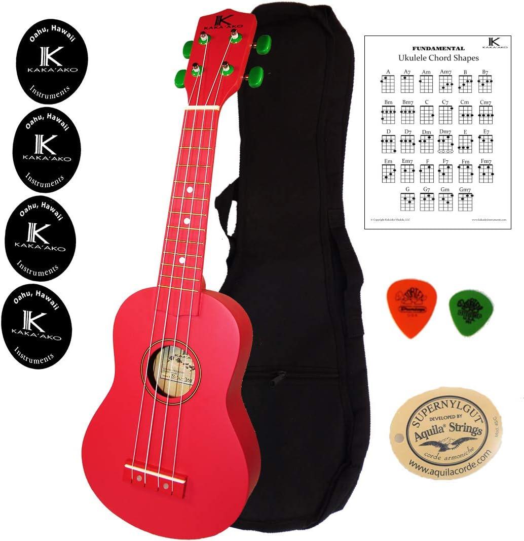 Kakaako - Ukelele para principiantes, color rojo mate   Gigbag   Tabla de acordes   Cuerdas Aquila   Púas: Amazon.es: Instrumentos musicales