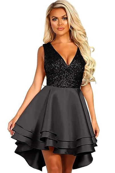 57d23cf2a79f8d emmarcon Abito Corto Cerimonia Donna Vestito Party Decorato con Paillettes  Scollo a V-Black-