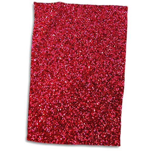 - 3D Rose Red Faux Glitter - Photo of Glittery Texture Matte Sparkly Bling - Glam Bold Stylish Girly Hand/Sports Towel, 15 x 22