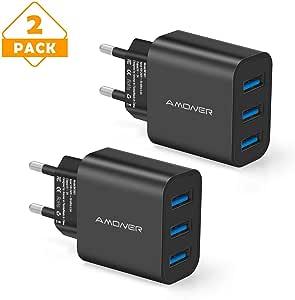 Amoner Cargador USB de Pared con 3 Puertos Cargador USB 3A Una Corriente Máxima de 2,4A Cargador Móvil para Todos Los Tipos de Celular 2 Packs (Negro): Amazon.es: Electrónica