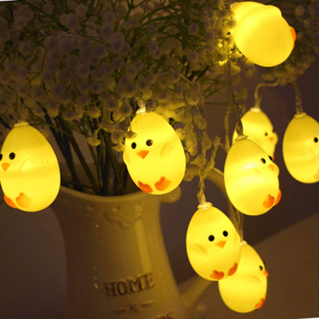 Ouniman Cute Chicken Shape LED String Light Battery Operated Decoration for Wedding, Easter Home Party - 20 LED/ 3M
