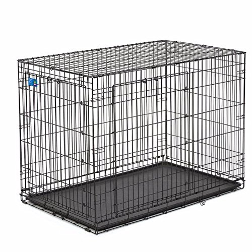 """Top Paw Double Door Wire Dog Crate, Black - 48""""L x 30""""W x..."""