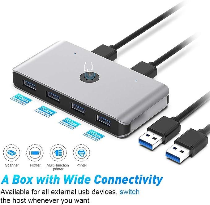 Rocketek USB 3.0 KVM Switch, 4 Puertos USB 3.0 Switch 2 Entradas y 4 Salidas para Compartir 4 Dispositivos de Teclado, Ratón, Memorias USB, Disco Duro, Impresoras, Escáneres, etc. con 2 USB3.0 Cable.: Amazon.es: Electrónica