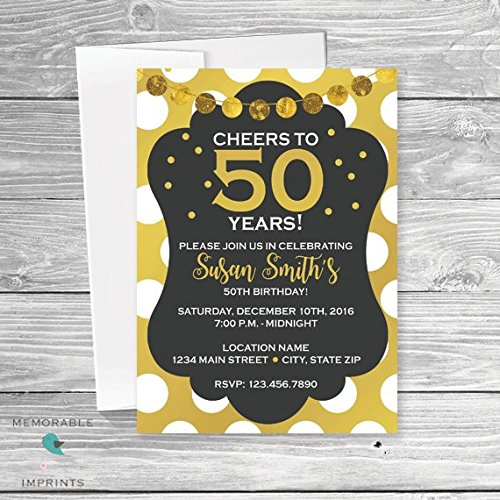 Amazon Set Of 10 Cheers To 50 Years 50th Birthday Invitation