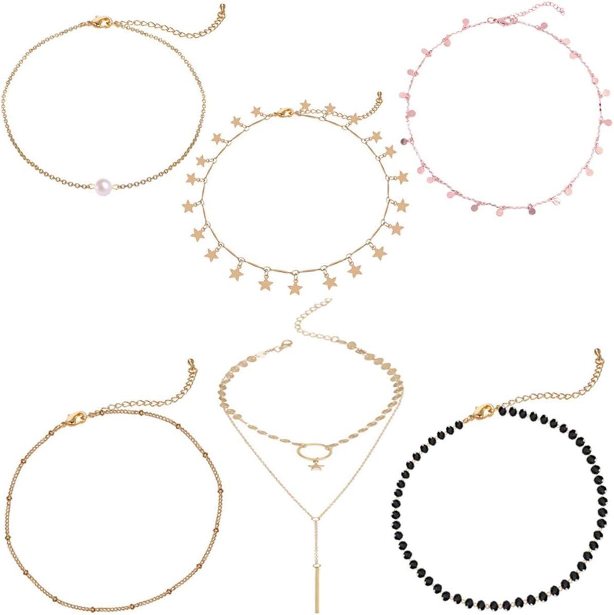 QAQGEAR 6Pcs Set Gargantilla de cadena de capas de oro Gargantilla ajustable en capas Collares llamativos con cristal negro perla Estrella Colgante delicado para mujeres Niñas Boda