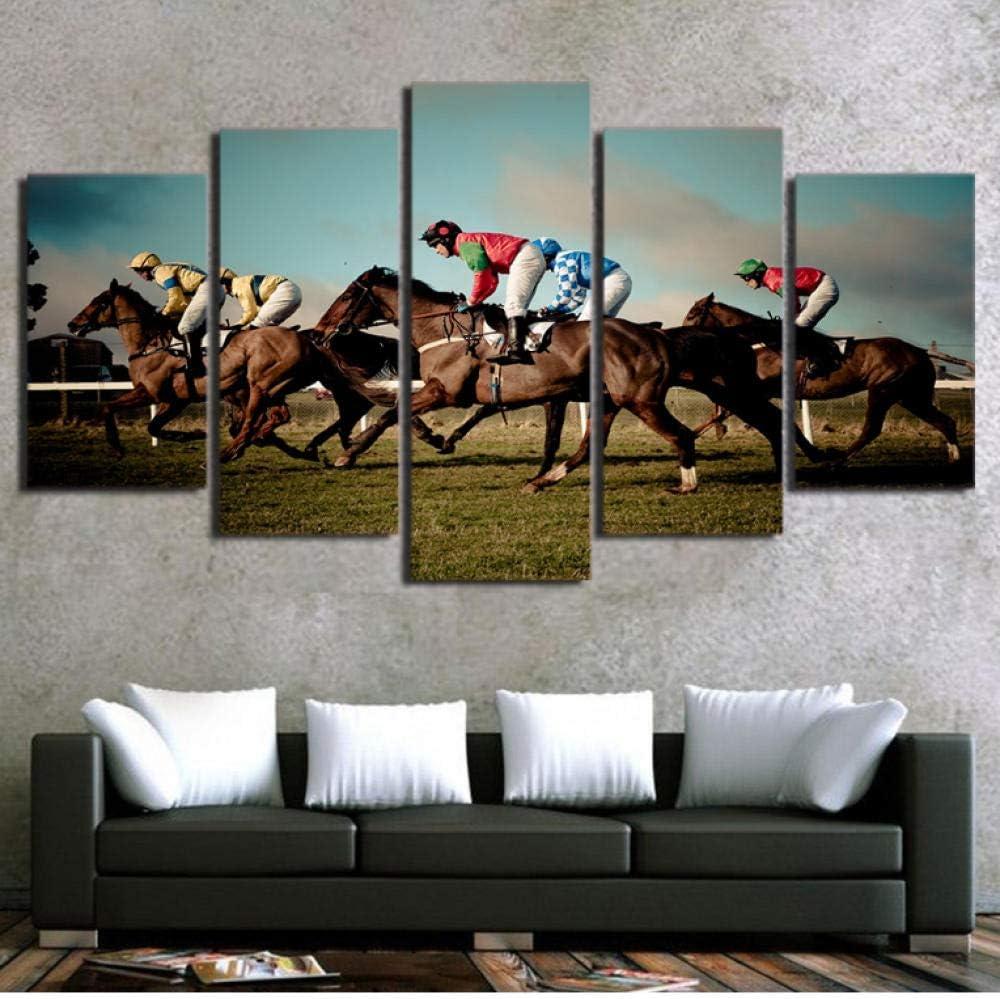 Nuevo estilo arte pared cuadros modulares cartel la venta caliente la casa pintura 5 Panel impresión HD juego carreras caballos pasillo coración para el hogar_40x100cm
