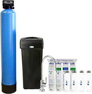 Tier1 Essential Series 48,000 Grain Water Softener with Ultra-Filtration Hollow Fiber Drinking Water Filter System + 4 Glass Water Bottles and a 10 Panel Water Test Kit