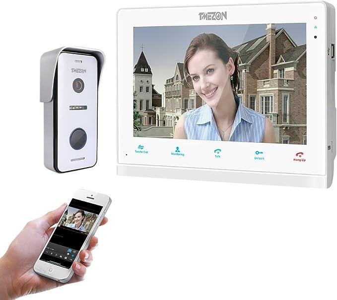 TMEZON 1080P Video Türsprechanlage mit 2x 7 Zoll HD Monitor 4-Draht Türklingel