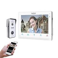 TMEZON Wifi IP Vidéo Interphone Visiophone,10 Pouce Moniteur Écran Tactile avec 720P Sonnette de Caméra Filaire Vision Nocturne,Parler/Enregistrer,Déverrouiller à distance,Surveiller via Smartphone