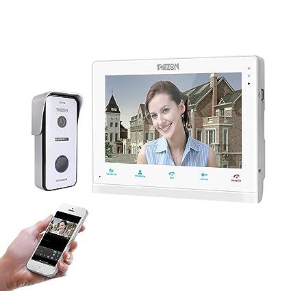 TMEZON 10 Pulgadas de Pantalla táctil inalámbrica/WiFi IP Inteligente Video Puerta teléfono Timbre de