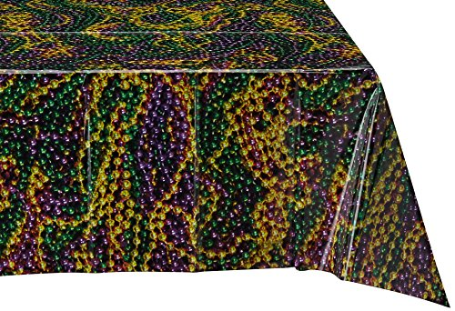 Beistle 57938 Mardi Gras Beads Tablecover, 54-Inch by 108-Inch